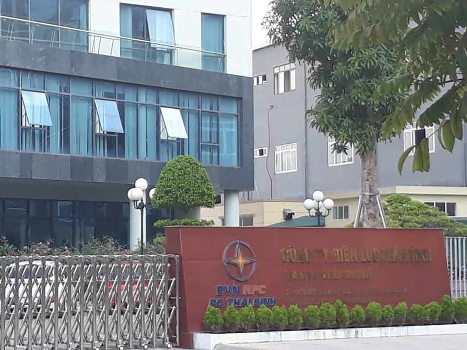 Trụ sở công ty Điện lực tỉnh Thái Bình, nơi ông T. làm việc trước khi rời khỏi địa phương.