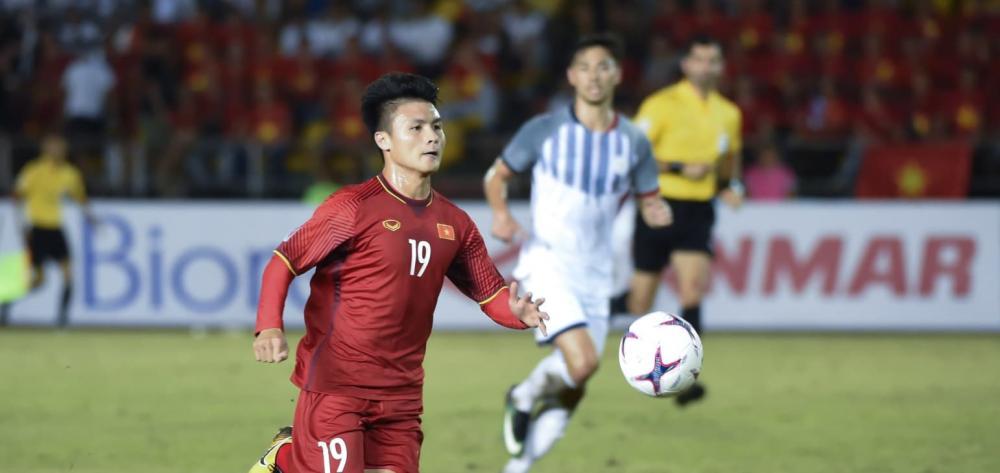 Quang Hải nổi bật trên trang chủ AFF Cup.