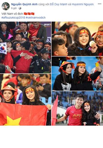 Ngay sau khi đội tuyển Việt Nam vô địch AFF Cup, trung vệ Duy Mạnh đã lao tới khán đài, đeo lên cổ cô người yêu Quỳnh Anh của mình chiếc HCV và trao cho nhau nụ hôn thắm thiết.