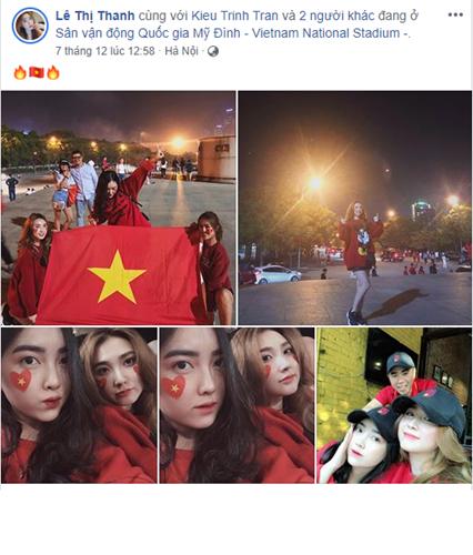 Bạn gái thủ môn Bùi Tiến Dũng là Thanh Mèo cũng bay từ TP HCM để cùng những người bạn cổ vũ cho đội tuyển Việt Nam.