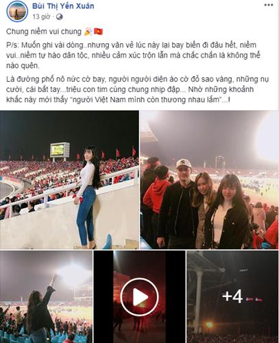 Hòa chung với không khí ăn mừng đội tuyển Việt Nam vô địch, dàn người yêu và bạn gái của các cầu thủ cũng có cách cổ vũ riêng của mình. Bạn gái của thủ môn Đặng Văn Lâm là Yến Xuân đã đáp chuyến bay từ TP HCM ra Hà Nội để chứng kiến khoảnh khắc đăng quang.
