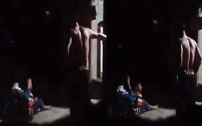Hình ảnh hành vi bạo hành trẻ em xuất hiện trong đoạn video clip đăng tải trên mạng xã hội.