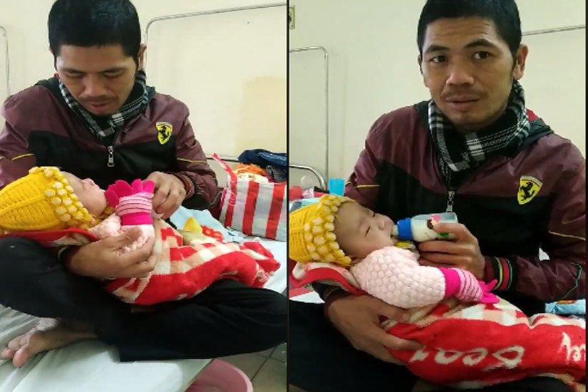 Được biết, sau khi sinh con được 2 ngày, vợ anh Khẩn đã bỏ đi để lại anh 1 mình nuôi người con nhỏ