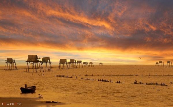 Bình minh rạng rỡ đầy mê hoặc nơi bãi biển Đồng Châu (Nguồn: tom.photo)