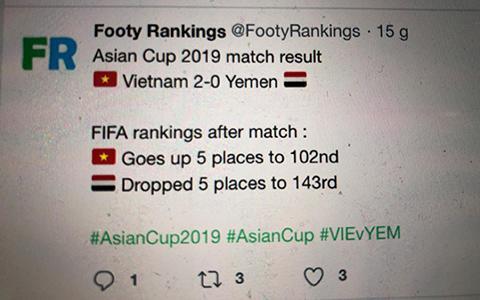 Việt Nam vươn lên vị trí 102 thế giới sau trận thắng Yemen