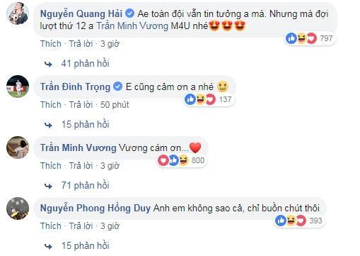 Đồng đội bình luận an ủi Minh Vương.