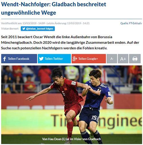 Fussballtransfers đưa tin Gladbach quan tâm đến Văn Hậu
