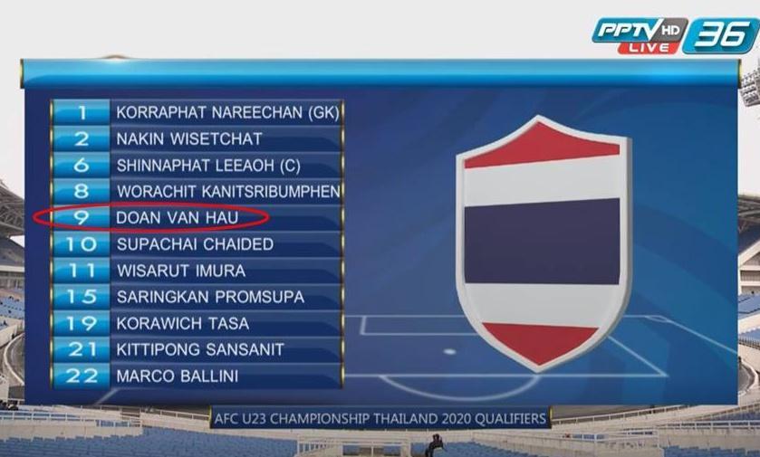 Đoàn Văn Hậu bất ngờ xuất hiện trong phần giới thiệu đội hình U23 Thái Lan.