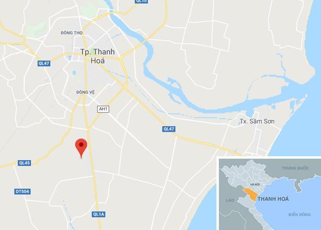 Tai nạn xảy ra cách TP Thanh Hóa khoảng 10 km. Ảnh: Google Maps.
