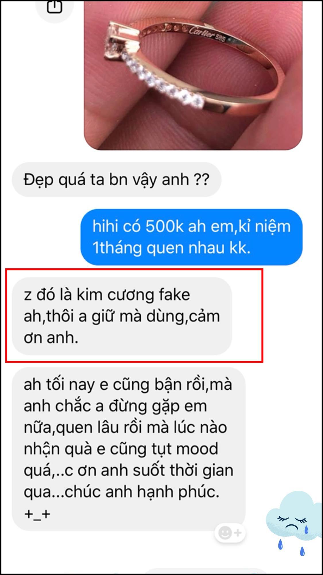Cô gái thẳng thừng tỏ ra thất vọng khi nghĩ chiếc nhẫn có giá trị thấp, đòi chấm dứt mối quan hệ - Ảnh: Facebook