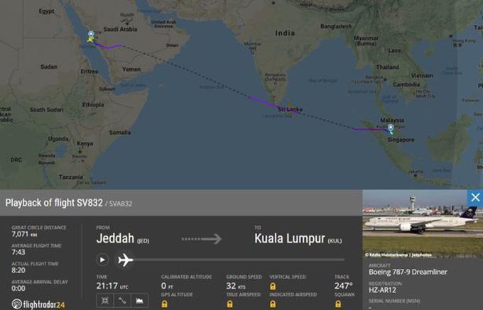 Lịch trình chuyến bay phải quay đầu của Saudi Airlines tối 9/3. Ảnh: Saudi Arabian Airlines.
