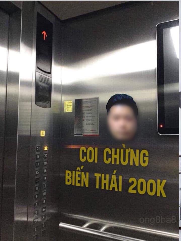 Hình ảnh của đối tượng Đào Mạnh H. cùng dòng chữ cảnh báo được dán bên trong thang máy. Ảnh: FB
