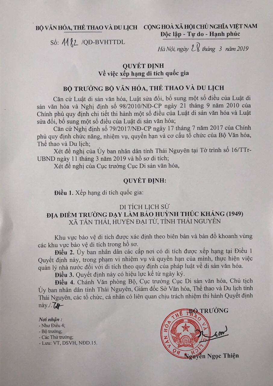 Quyết định xếp hạng di tích lịch sử địa điểm trường dạy làm báo Huỳnh Thúc Kháng