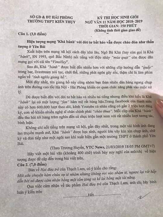 Đề thi học sinh giỏi văn đưa nhân vật giang hồ mạng - Khá Bảnh (Ảnh: MXH)