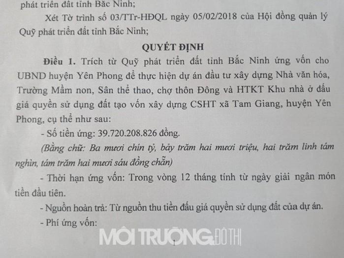 Quyết định số 164/QĐ-UBND về việc ứng vốn cho UBND huyện Yên Phong.