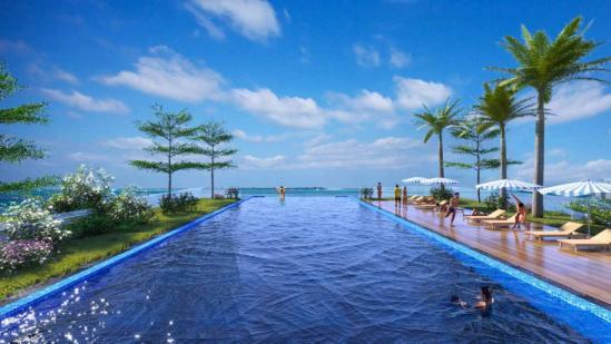 Bể bơi vô cực bốn mùa trên cao, hướng tầm mắt ra vịnh Lan Hạ bao la.