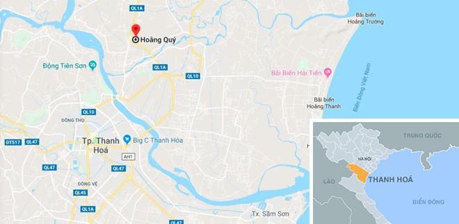 Xã Hoằng Quý - nơi xảy ra án mạng. Ảnh: Google Maps.