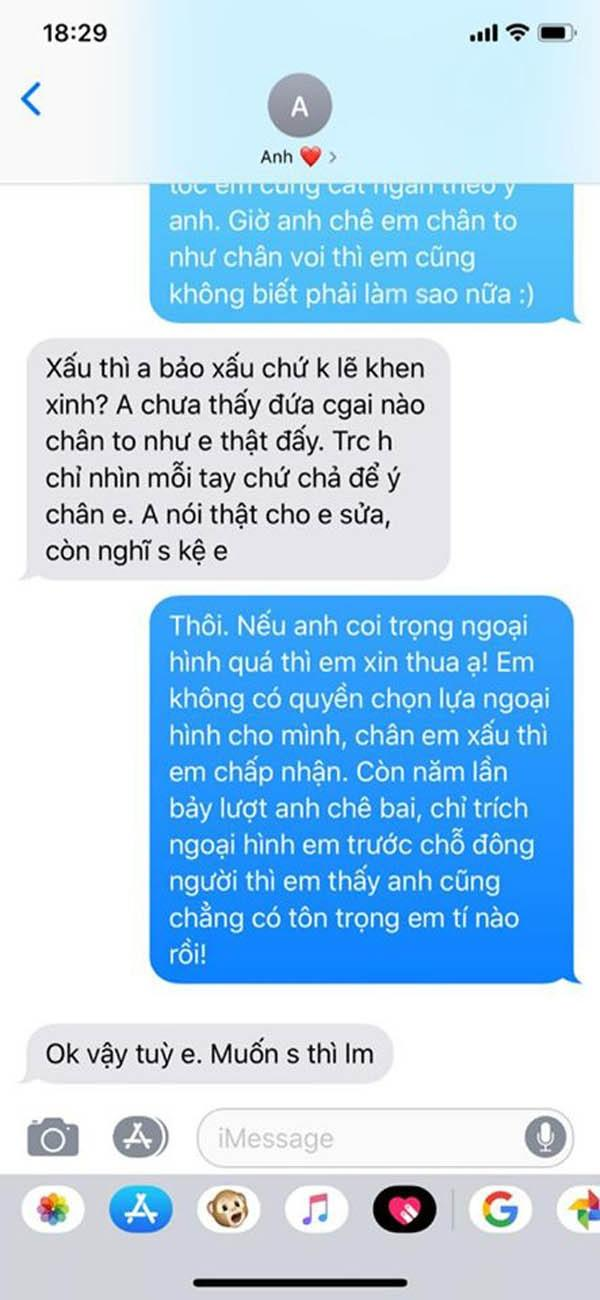 Tin nhắn bạn trai trách móc, cho rằng cô gái không chịu tiếp thu ý kiến sau khi bị anh này chê bai rằng chân to... như chân trâu trước mặt nhiều người.