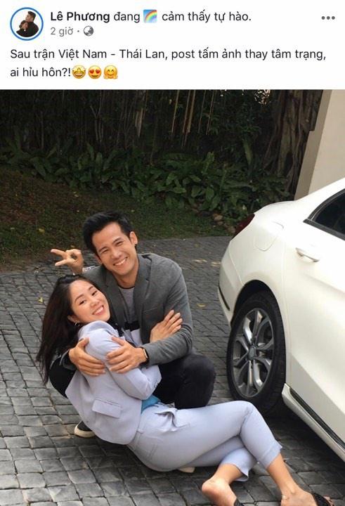 Diễn viên Lê Phương cũng đăng ảnh ăn mừng. Ảnh chụp màn hình