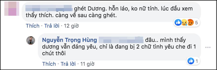 Nam diễn viên cũng để lại bình luận bênh vực đàn em khi khán giả khẳng định ghét vai diễn Ánh Dương.