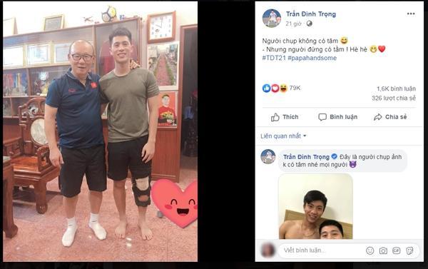 Đình Trọng khoe bức ảnh chụp chung cùng HLV Park Hang-seo khi vị chiến lược gia này đích thân tới nhà riêng để thăm hỏi học trò.