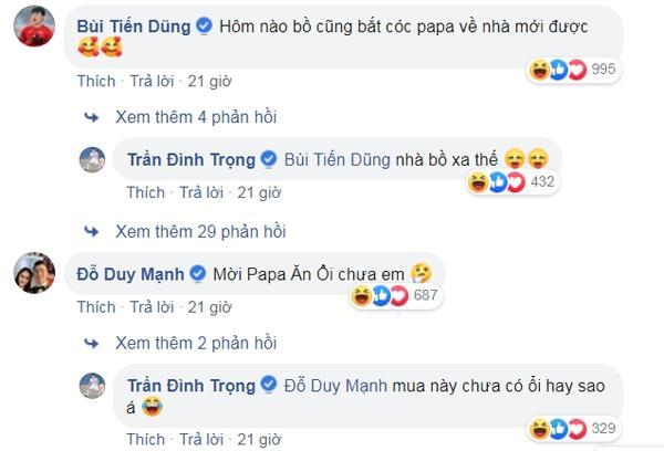 Trung vệ Bùi Tiến Dũng hay Đỗ Duy Mạnh cũng cảm thấy ghen tị và bình luận dưới bài đăng khi Đình Trọng được HLV Park tới thăm.