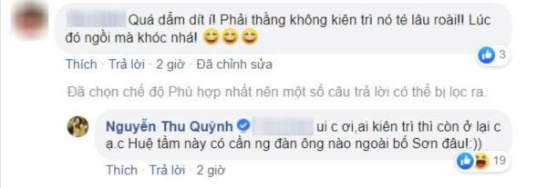 Thu Quỳnh bày tỏ quan điểm đồng tình với nhân vật Huệ