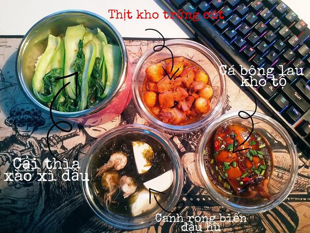 Mỗi bữa đều đầy đủ món mặn, canh, rau...