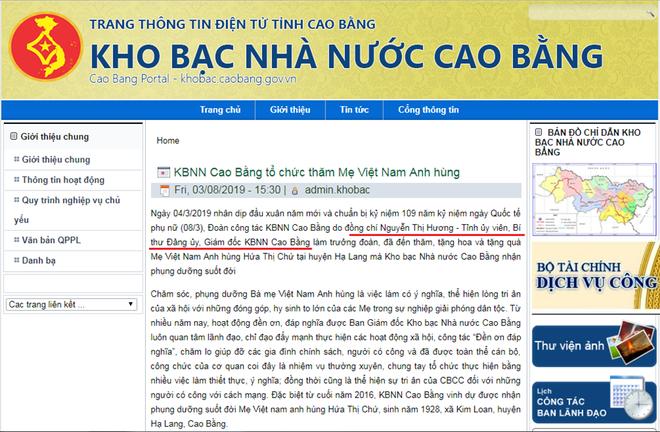 Thông tin về chức vụ của mẹ Thùy Linh trên trang thông tin điện tử tỉnh Cao Bằng.