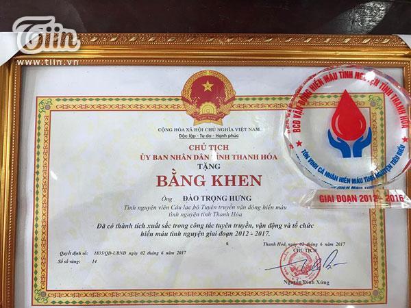 Bằng khen của UBND tỉnh Thanh Hóa