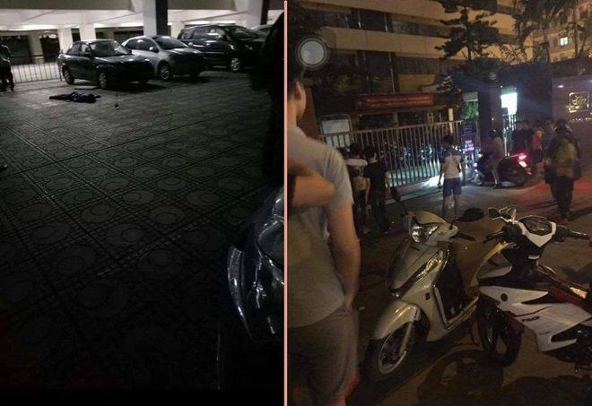 Hiện trường vụ nam thanh niên nhảy lầu tự tử tại Đại học Kiến Trúc. Ảnh Facebook