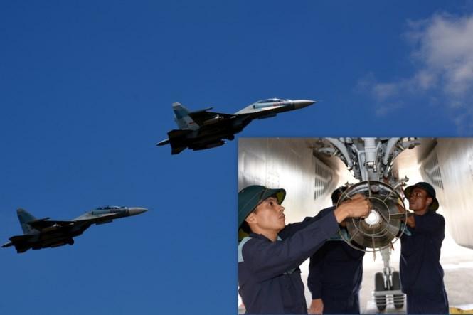 Nhân viên chuyên ngành vũ khí hàng không treo lắp bom lên máy bay SU-30MK2 trước chuyến bay bắn, ném (ảnh nhỏ) và biên đội SU-30MK2 cất cánh thực hiện nhiệm vụ bắn, ném bom