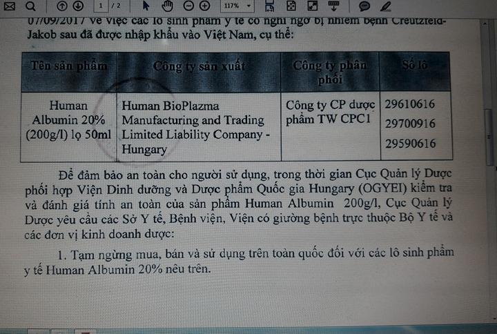 Trong khi chờ đánh giá về tính an toàn của sinh phẩm y tế Human Albumin 20% (200g/l), Cục Quản lý Dược đã thông báo tạm dừng các lô sinh phẩm Human Albumin đã được nhập vào Việt Nam ở trên
