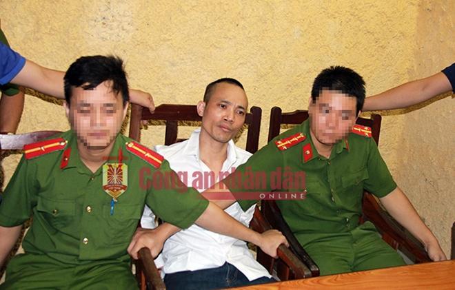 Đối tượng Lê Văn Thọ sau khi bị bắt.
