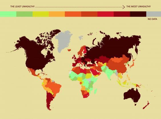 Bảng xếp hạng cho thấy Việt Nam ở nhóm các quốc gia có lối sống kém lành mạnh nhất thế giới. Ảnh: Independent.