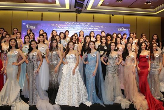Xuất hiện tại buổi họp báo công bố Top 70 thí sinh lọt vào bán kết HHHV VN 2017 và lên sóng chương trình truyền hình thực tế