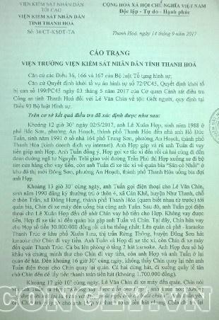 Cáo trạng của VKSND tỉnh Thanh Hóa