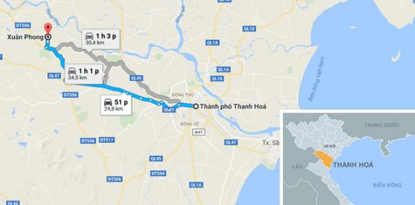 Xã Xuân Phong, huyện Thọ Xuân - nơi xảy ra sự việc. Ảnh: Google Maps.