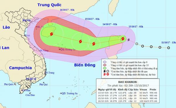 Vị trí và hướng đi của bão Khanun. Ảnh: NCHMF.