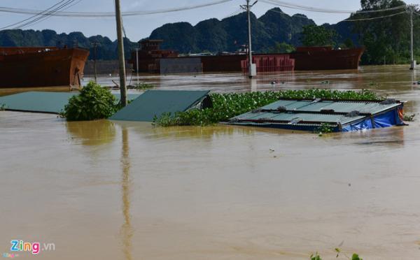 Nhiều khu vực ở ngoài đê thuộc tỉnh Ninh Bình bị nước ngập lên tận mái nhà. Ảnh: Việt Hùng.