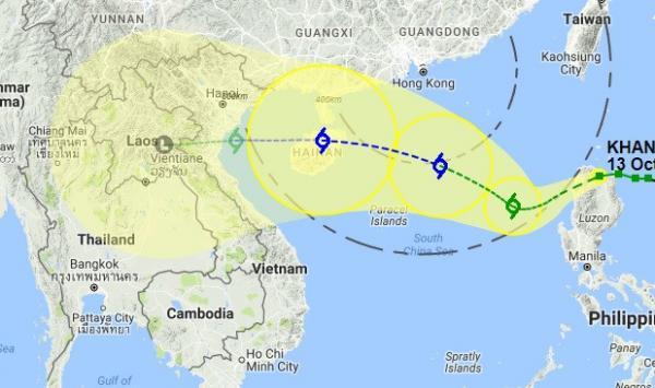 Dự báo hướng di chuyển bão Khanun của Cơ quan Khí tượng Hong Kong. Ảnh: HKO