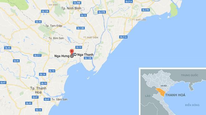 Vị trí phát hiện thi thể nạn nhân nằm giáp ranh hai xã Nga Hưng, Nga Thanh (huyện Nga Sơn). Ảnh: Google Maps.