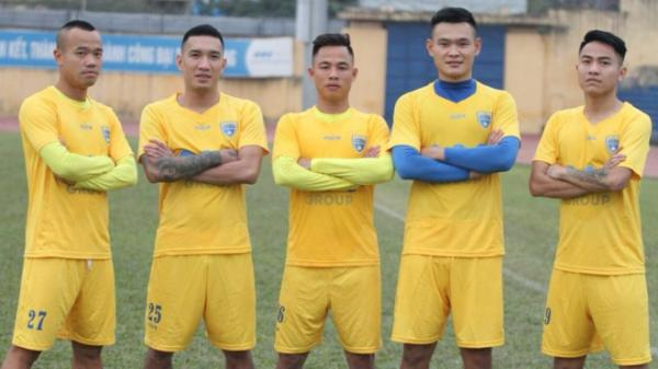 5 tân binh của FLC Thanh Hoá (từ trái qua): Quang Vinh, Văn Hiếu, Xuân Thành, Minh Tùng và Văn Nam. Ảnh: MTS/TT&VH