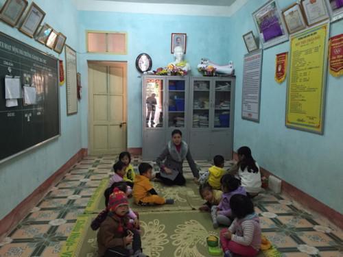 Phòng làm việc của hiệu trưởng trường mầm non Thọ Diên được sử dụng làm phòng học