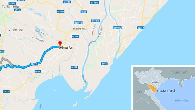 Vị trí xã Nga An - nơi xảy ra vụ án. Ảnh: Google Maps.