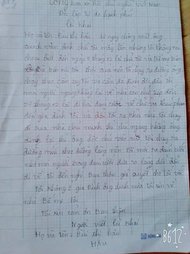 - Lá thư (do ông Hoan cung cấp) của nạn nhân Hậu gửi thôn trước khi xảy ra vụ việc. Ảnh: Hoàng Lam