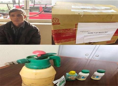 Thủ phạm Hà Thanh Liêm và tang vật bị thu giữ. Ảnh: PLO