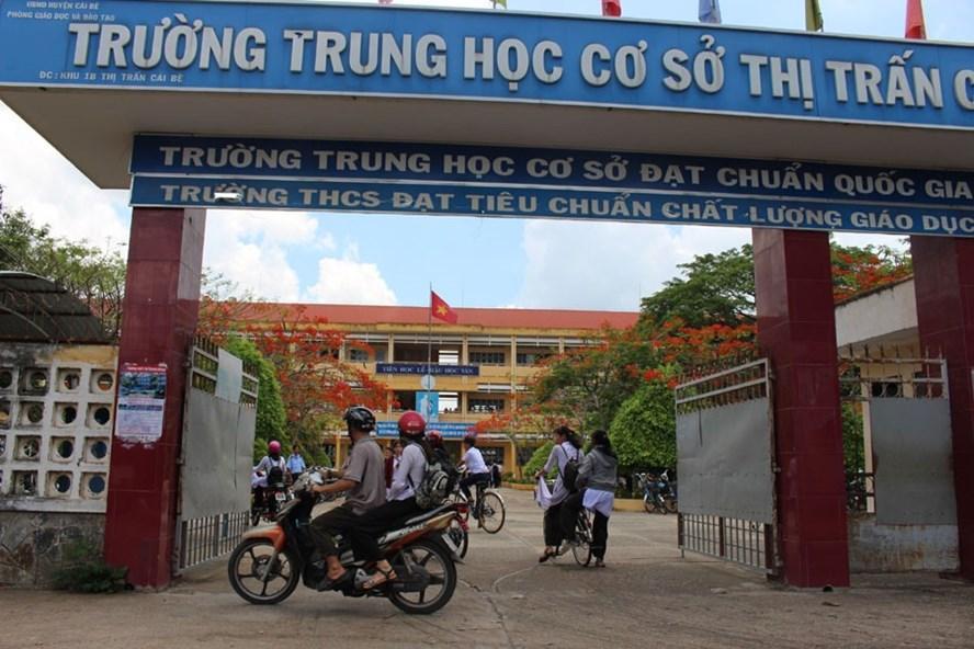 """Trường THCS Thị trấn Cái Bè, nơi quyết tâm ngăn chặn từ đầu trò chơi nguy hiểm """"Thử thách Cá voi xanh"""". Ảnh: PV"""
