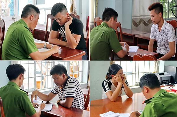 """Cán bộ Công an huyện Tuy An đang thu thập thông tin từ những nhân viên mang danh nghĩa Công ty TNHH SXPT-KHCN Thiên An tổ chức sự kiện """"Chăm sóc khách hàng""""."""