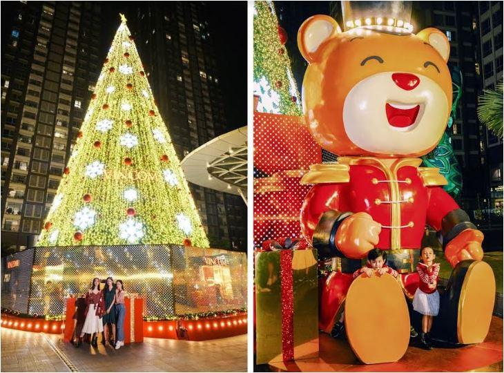 Các hotgirl tranh thủ khoe chân dài với cây thông khổng lồ, trong khi các bạn nhỏ thích thú ngồi vào lòng gấu Teddy chụp hình khi tới Landmark 81